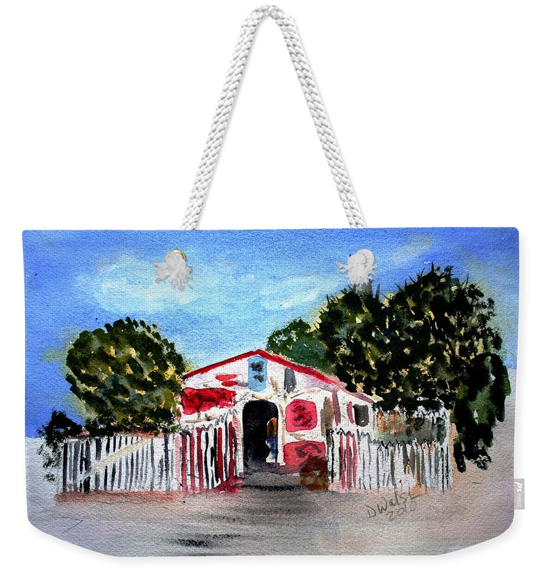 Tropical Weekender Tote Bag featuring the painting Emiles Road Side Grocer by Donna Walsh