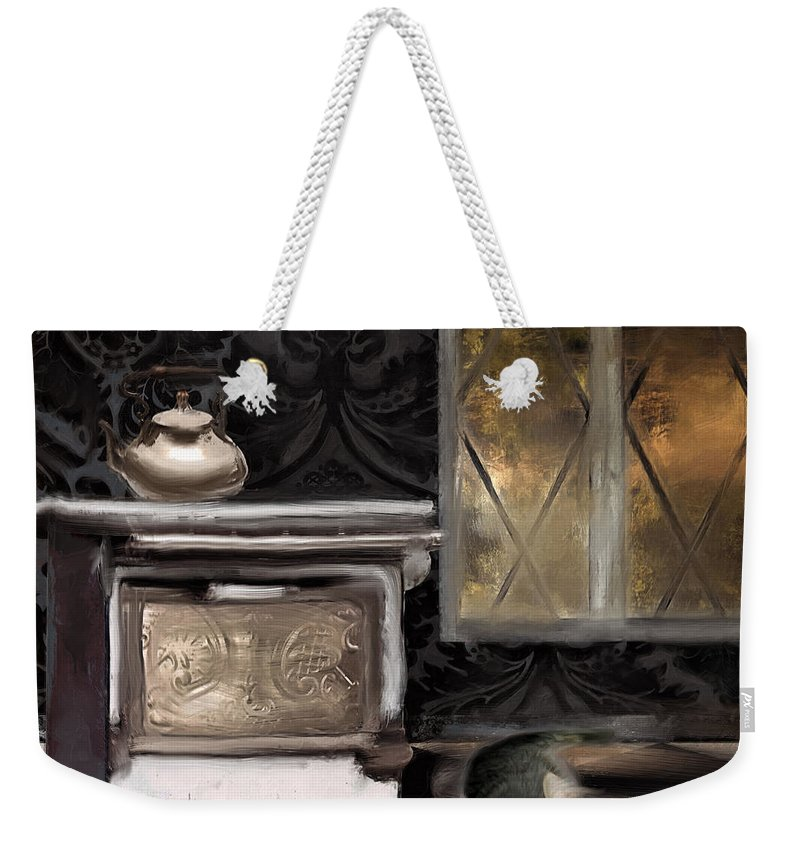 Kitten With Milk Weekender Tote Bag featuring the painting Emily's Kitchen by Mindy Sommers