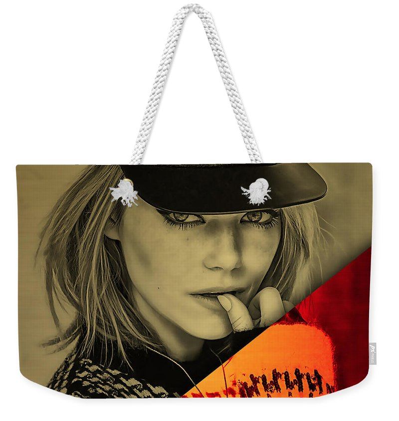 Emma Stone Weekender Tote Bag featuring the mixed media Emma Stone Collection by Marvin Blaine