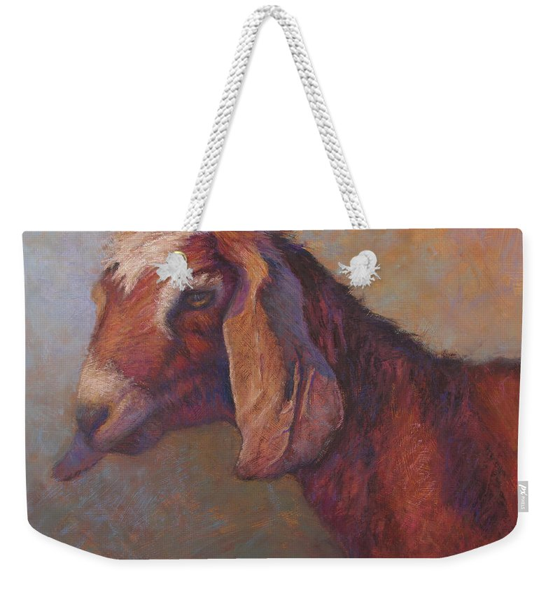 Goats Weekender Tote Bag featuring the painting Emma Sundara by Susan Williamson