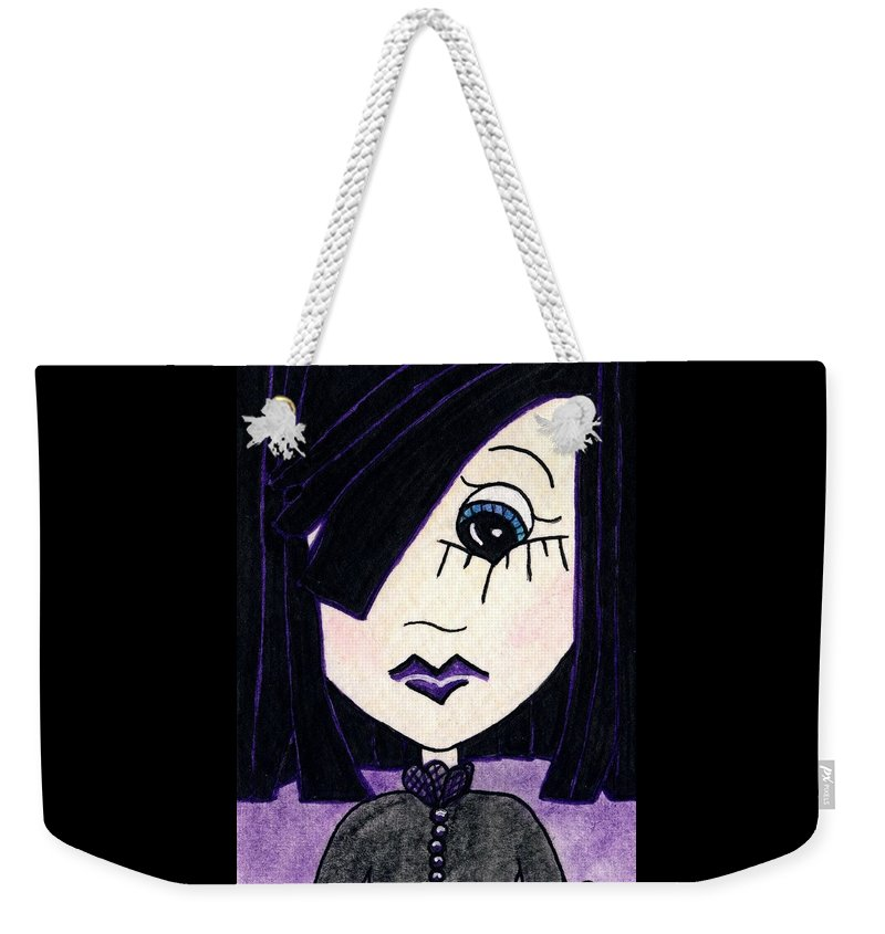 Emo Weekender Tote Bag featuring the painting Emo Girl Iv by Tambra Wilcox