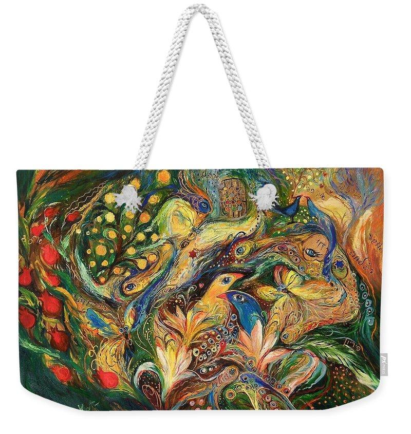 Original Weekender Tote Bag featuring the painting Emotion In Green by Elena Kotliarker