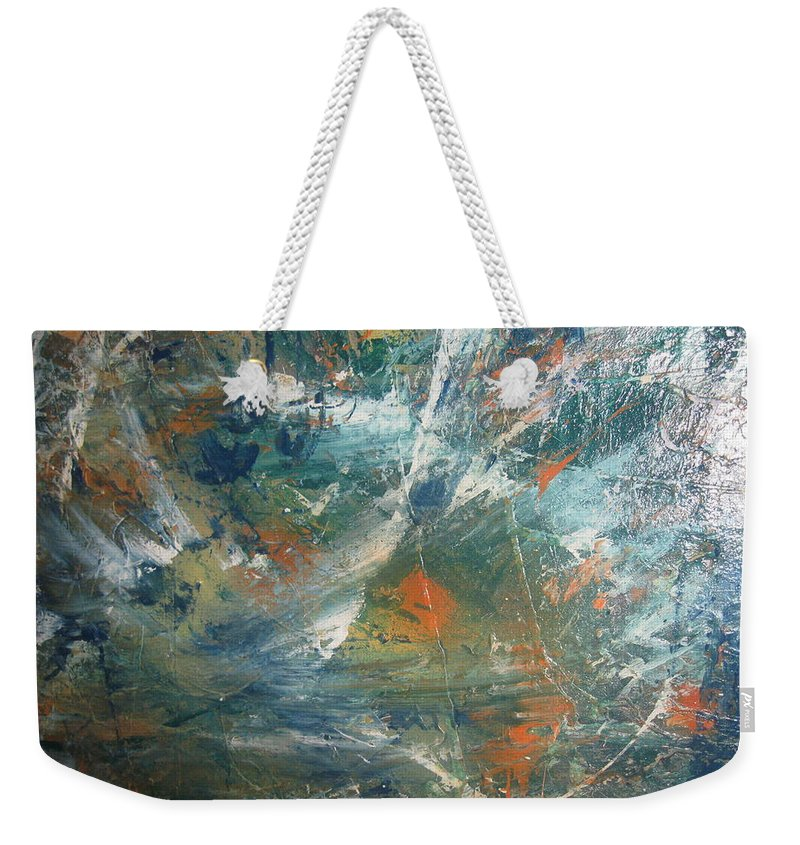 Non Duality Weekender Tote Bag featuring the painting Emotional Deluge by Paula Andrea Pyle