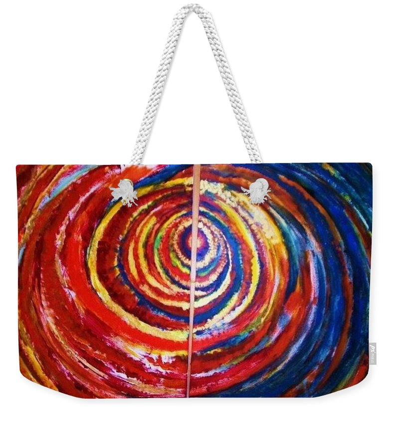 Original Art Weekender Tote Bag featuring the painting Emotional Whirl by Rae Chichilnitsky