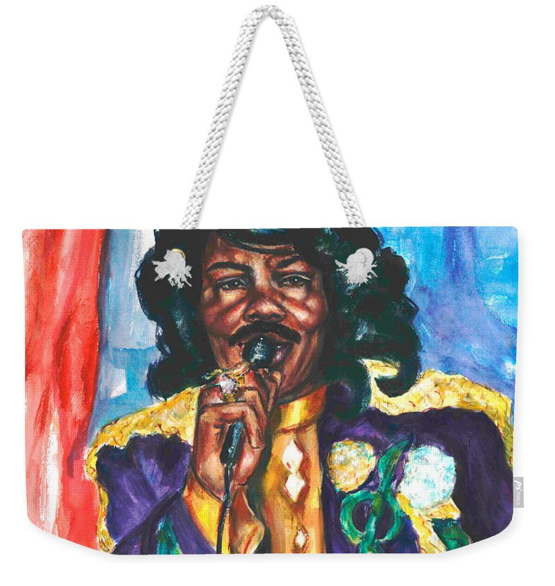 Ernie K Doe Weekender Tote Bag featuring the painting Emperor Of The Universe by Beverly Boulet