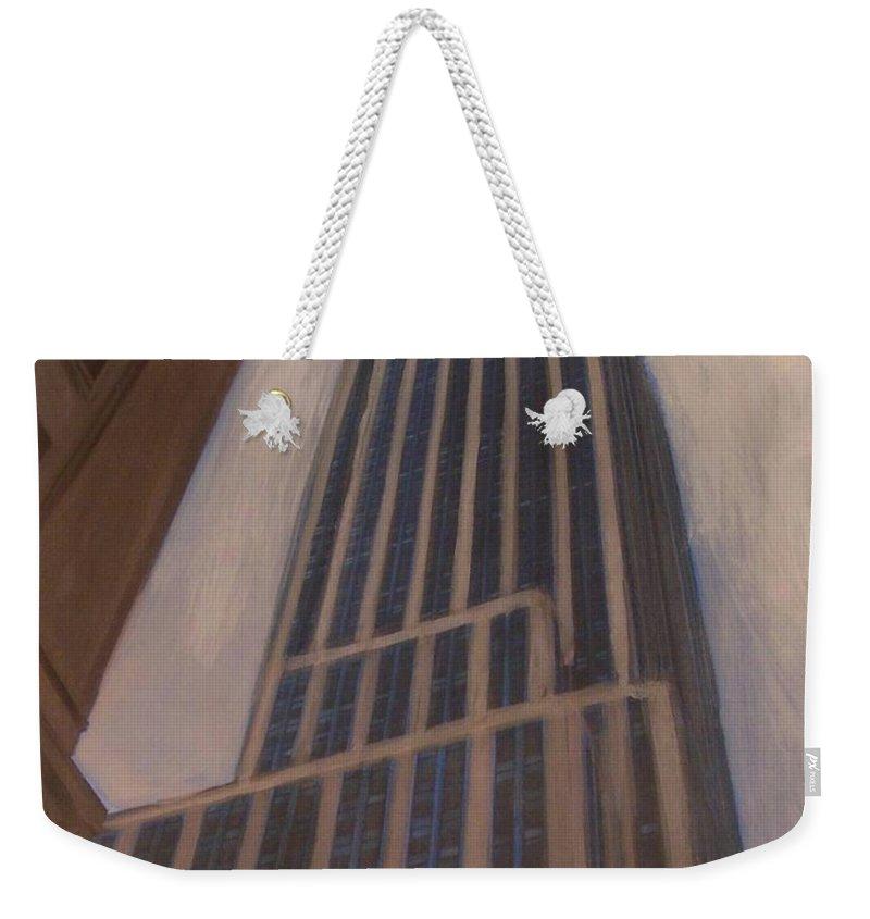 Empire State Building Weekender Tote Bag featuring the mixed media Empire State Building 1 by Anita Burgermeister