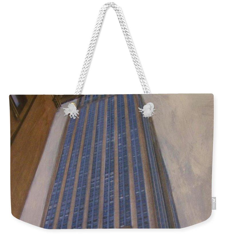 Empire State Building Weekender Tote Bag featuring the mixed media Empire State Building 2 by Anita Burgermeister