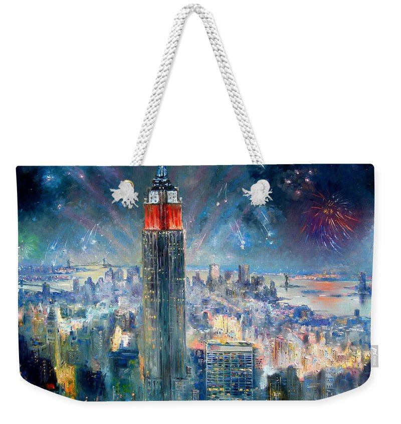 Empire State Building Weekender Tote Bag featuring the painting Empire State Building In 4th Of July by Ylli Haruni
