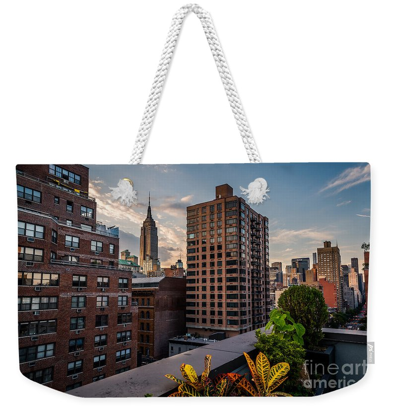 Flatiron Building Weekender Tote Bag featuring the photograph Empire State Building Sunset Rooftop Garden by Alissa Beth Photography