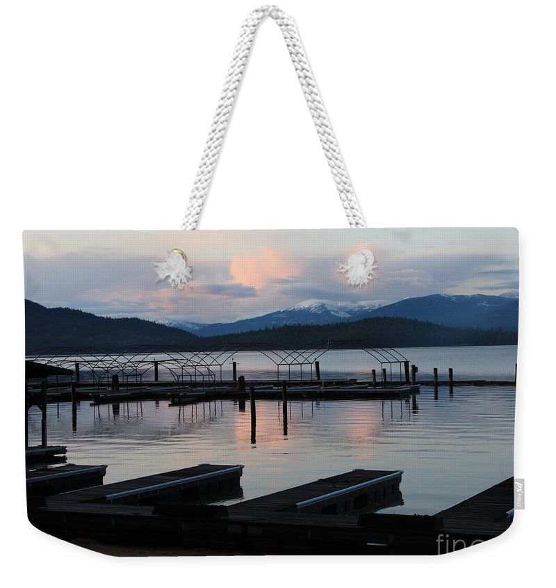 Priest Lake Weekender Tote Bag featuring the photograph Empty Docks On Priest Lake by Carol Groenen