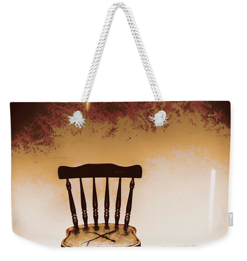 Chair Weekender Tote Bag featuring the photograph Empty Wooden Chair With Cross Sign by Jorgo Photography - Wall Art Gallery
