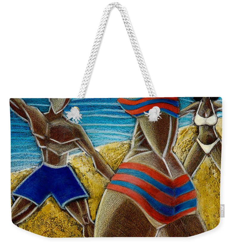 Beach Weekender Tote Bag featuring the painting En Luquillo Se Goza by Oscar Ortiz