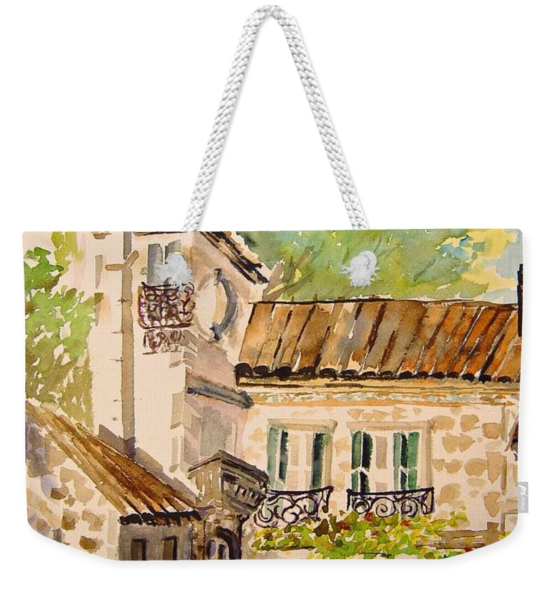 France Weekender Tote Bag featuring the painting En Plein Air At Moulin De La Roque France by Joanne Smoley