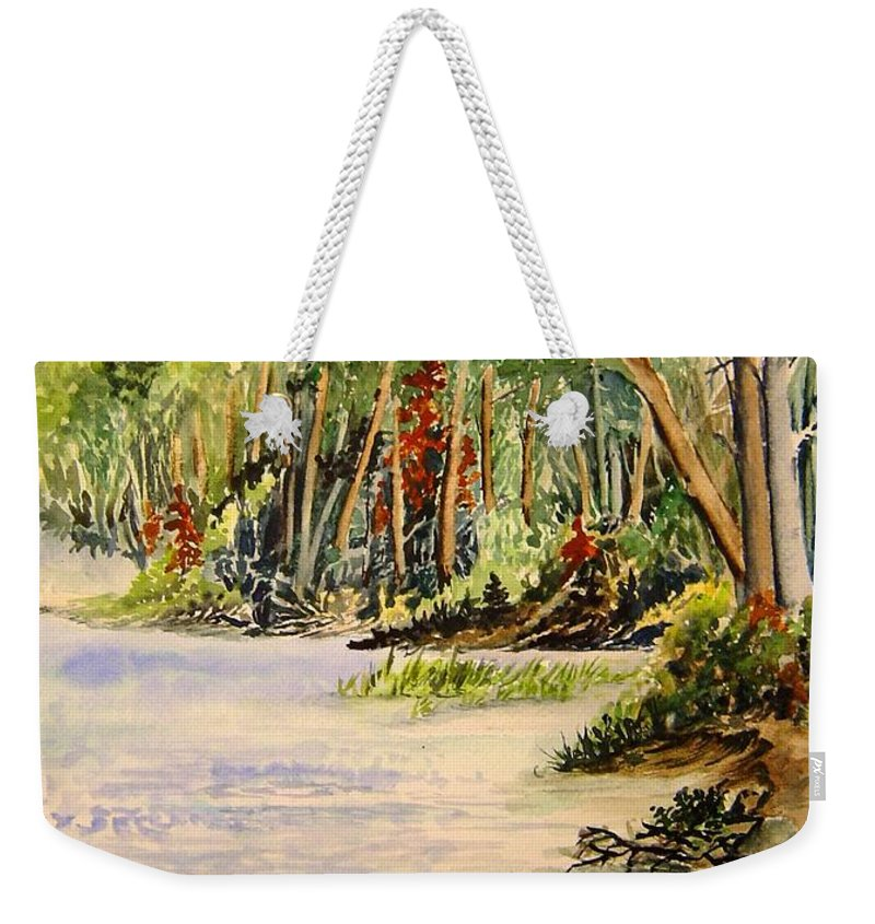 Otter Falls Manitoba Whiteshell Lake Landscape Weekender Tote Bag featuring the painting En Plein Air At Otter Falls Boat Launch by Joanne Smoley