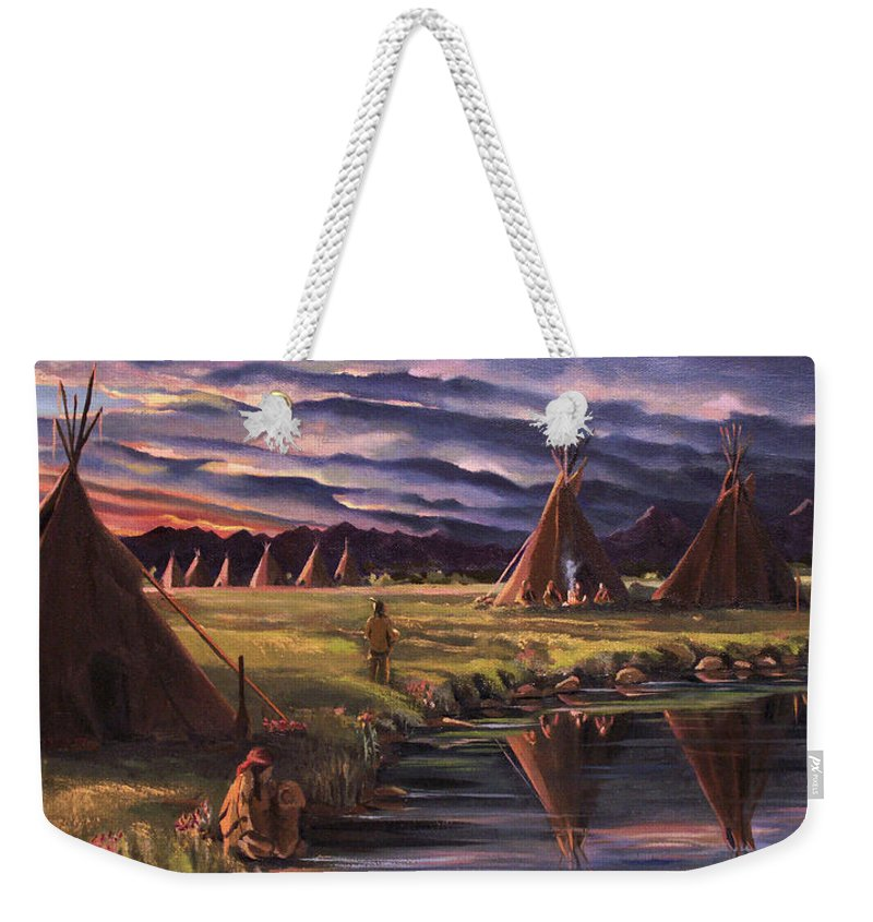 Native American Weekender Tote Bag featuring the painting Encampment At Dusk by Nancy Griswold