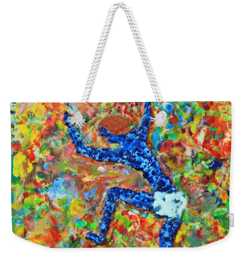 Abstract Weekender Tote Bag featuring the painting Encaustic Man Jumping by Carl Deaville