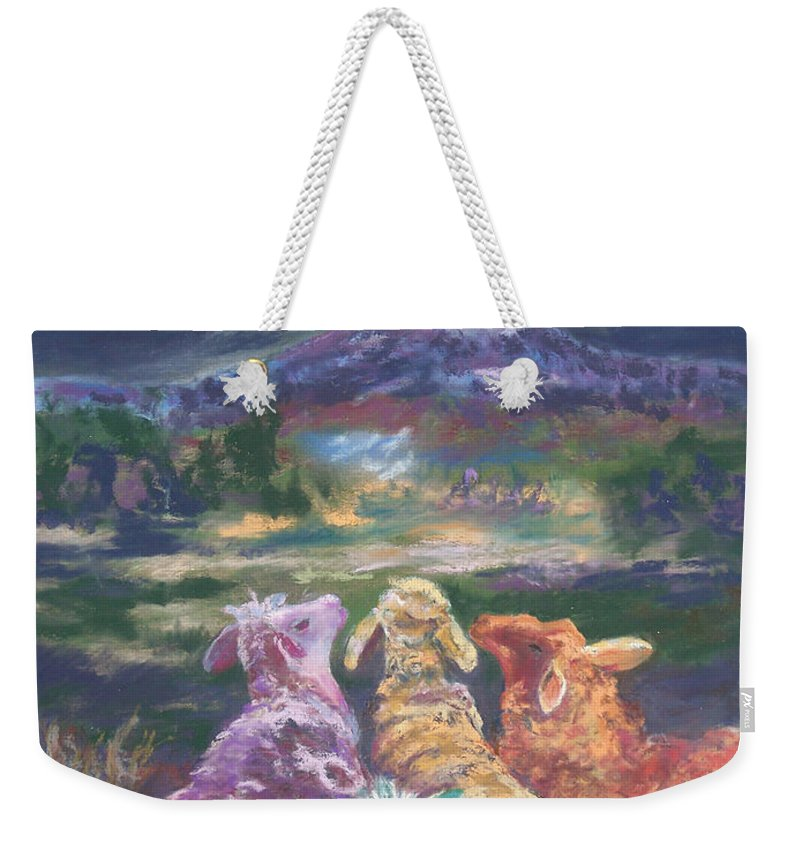 Fantasy Weekender Tote Bag featuring the pastel Enchanted Lights by Alicia Drakiotes