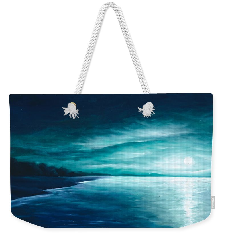 Moonscape Weekender Tote Bag featuring the painting Enchanted Moon I by James Christopher Hill