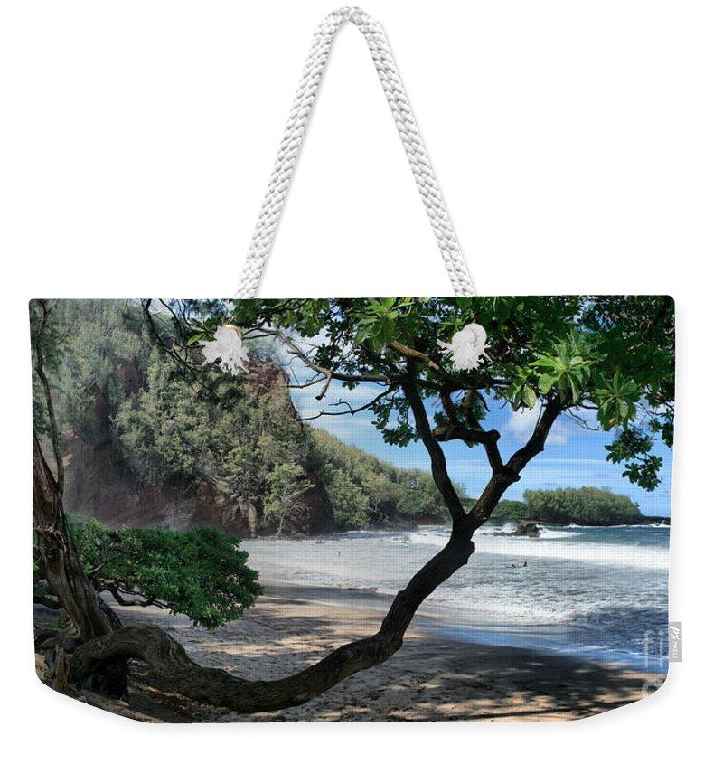 Aloha Weekender Tote Bag featuring the photograph Enchanted Rocks Koki Beach Haneoo Hana Maui Hawaii by Sharon Mau