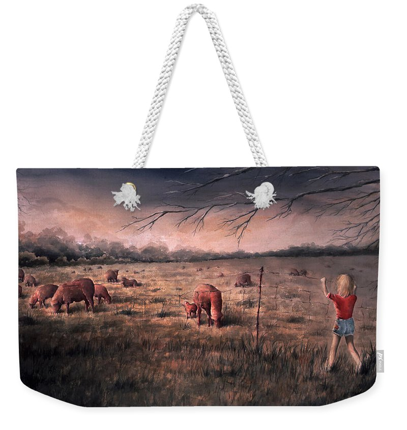 Landscape Weekender Tote Bag featuring the painting A childhood by William Russell Nowicki