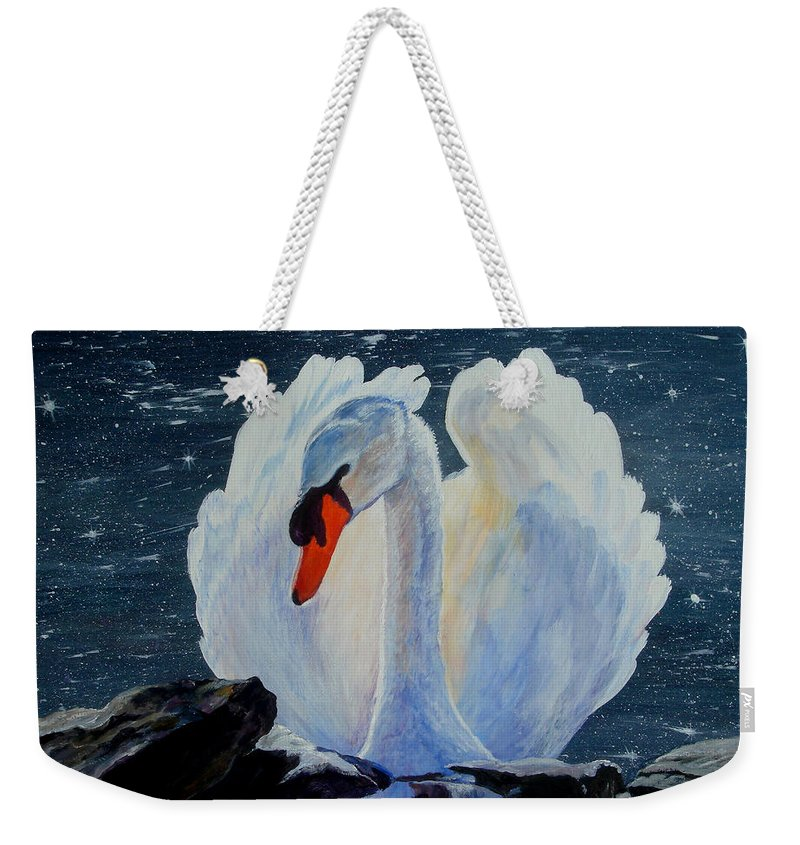 Swan Weekender Tote Bag featuring the painting Enchanting by Susan Duda