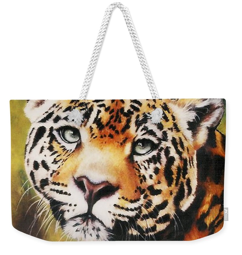 Jaguar Weekender Tote Bag featuring the pastel Enchantress by Barbara Keith