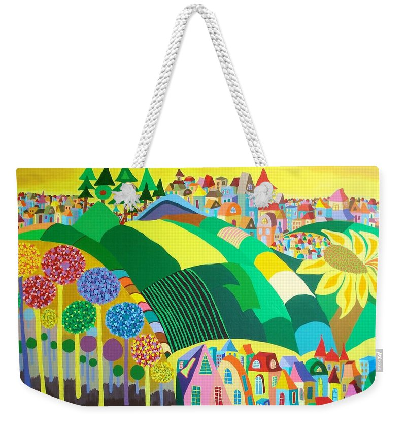 Landscape Weekender Tote Bag featuring the painting End Of May by Mimi Revencu