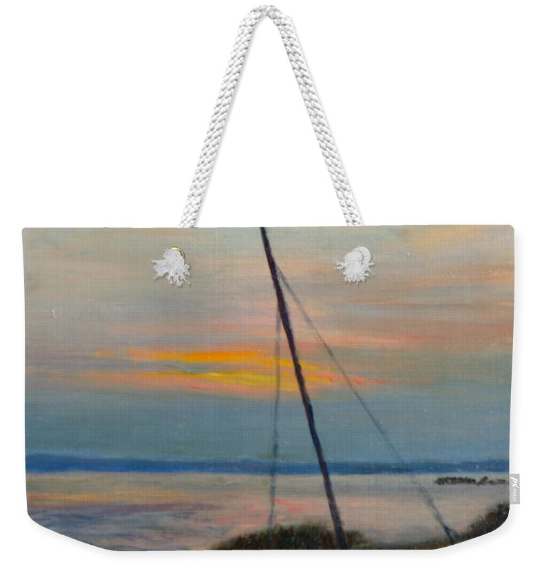 Landscape Weekender Tote Bag featuring the painting End Of The Day by Phyllis Tarlow