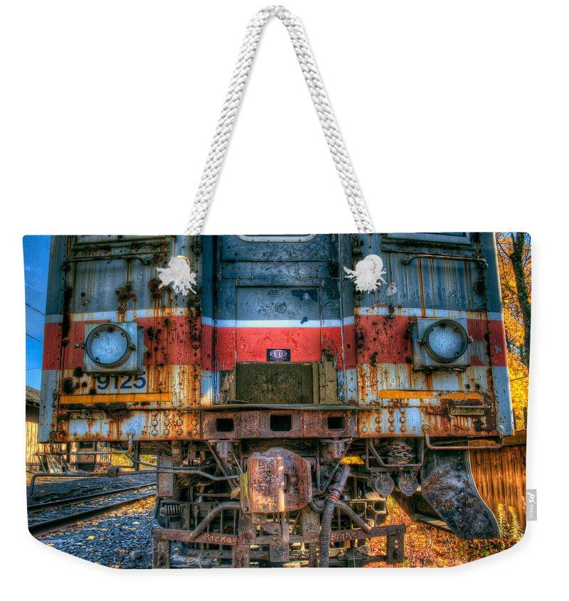 Train Weekender Tote Bag featuring the photograph End Of The Line by William Jobes
