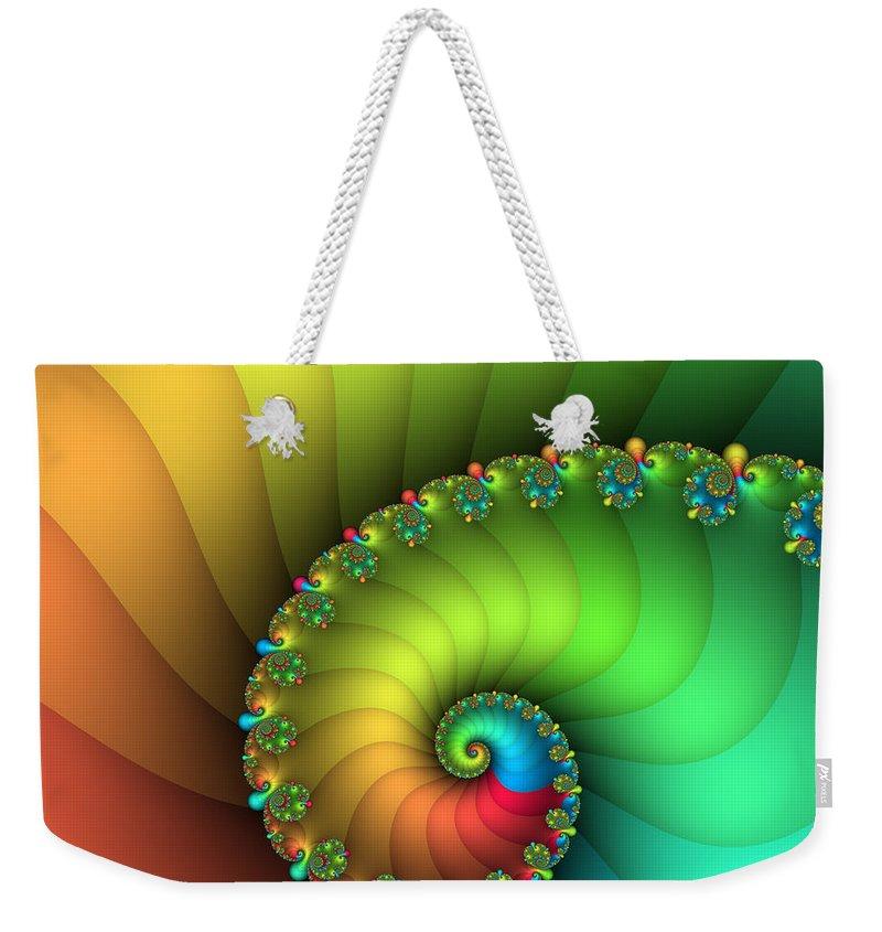 Fractal Weekender Tote Bag featuring the digital art End Of The Rainbow by Jutta Maria Pusl