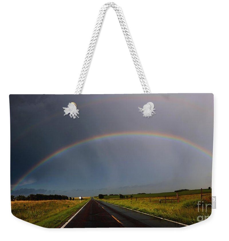 Trees Weekender Tote Bag featuring the photograph End Of The Rainbow by Lori Tordsen