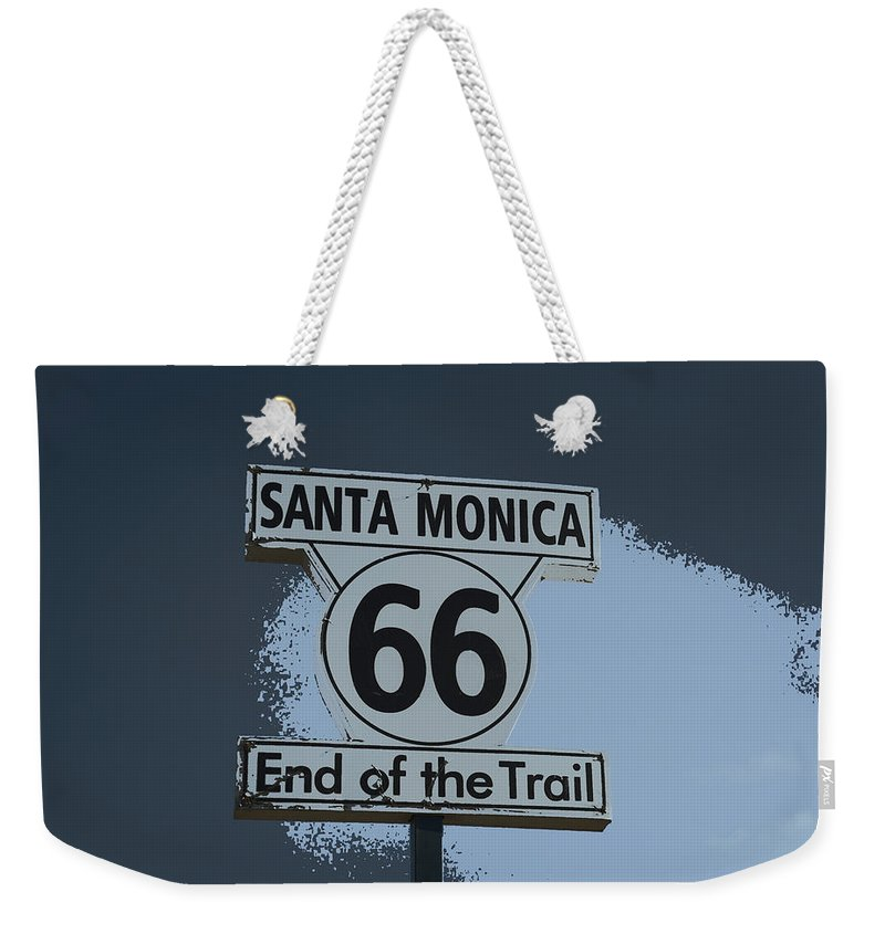 Santa Monica Pier Weekender Tote Bag featuring the photograph End Of The Trail 2 by Fraida Gutovich