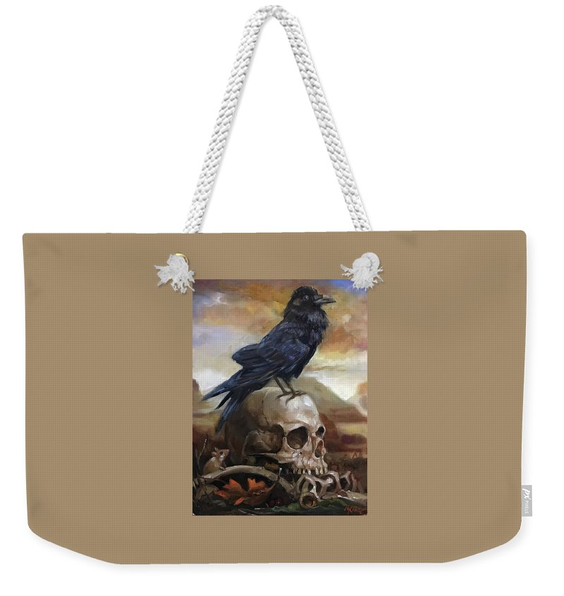 Raven Weekender Tote Bag featuring the painting End Of Time by Margot King