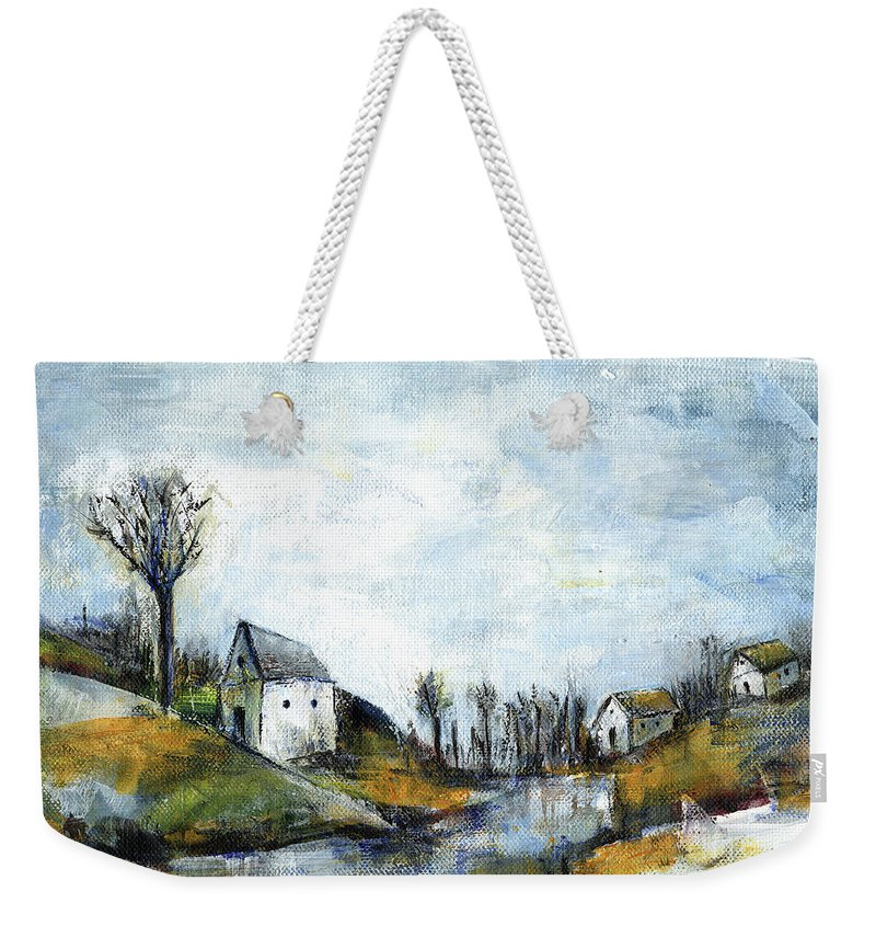 Landscape Weekender Tote Bag featuring the painting End Of Winter - Acrylic Landscape Painting On Cotton Canvas by Aniko Hencz