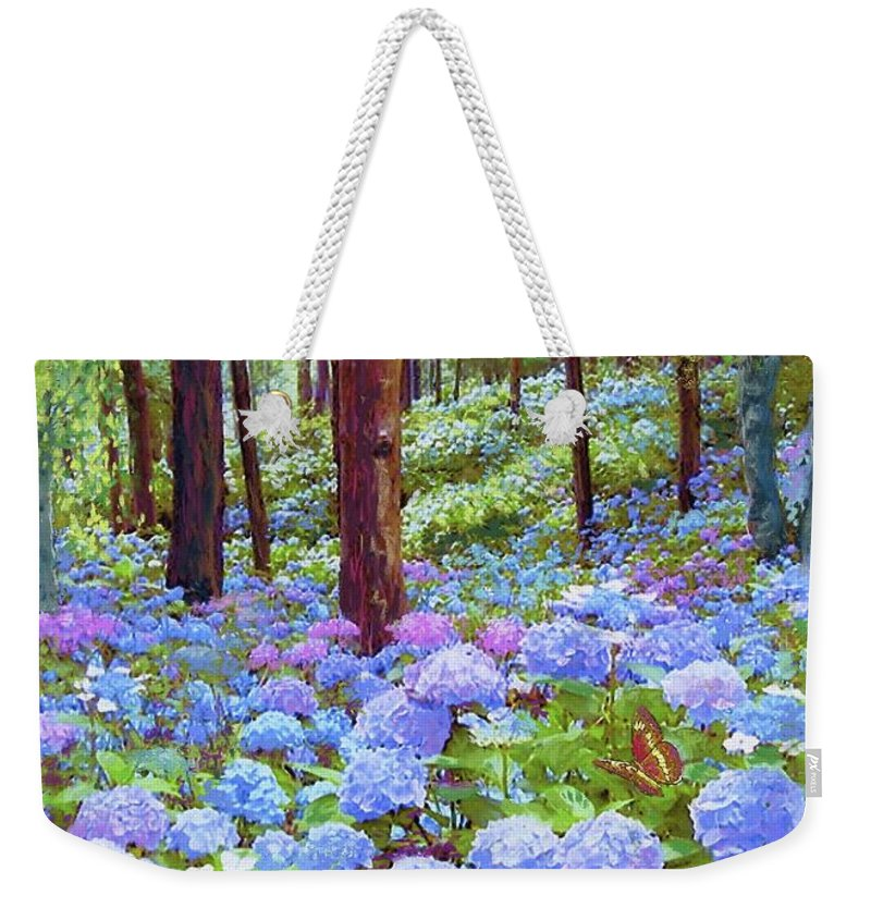 Sun Weekender Tote Bag featuring the painting Endless Summer Blue Hydrangeas by Jane Small