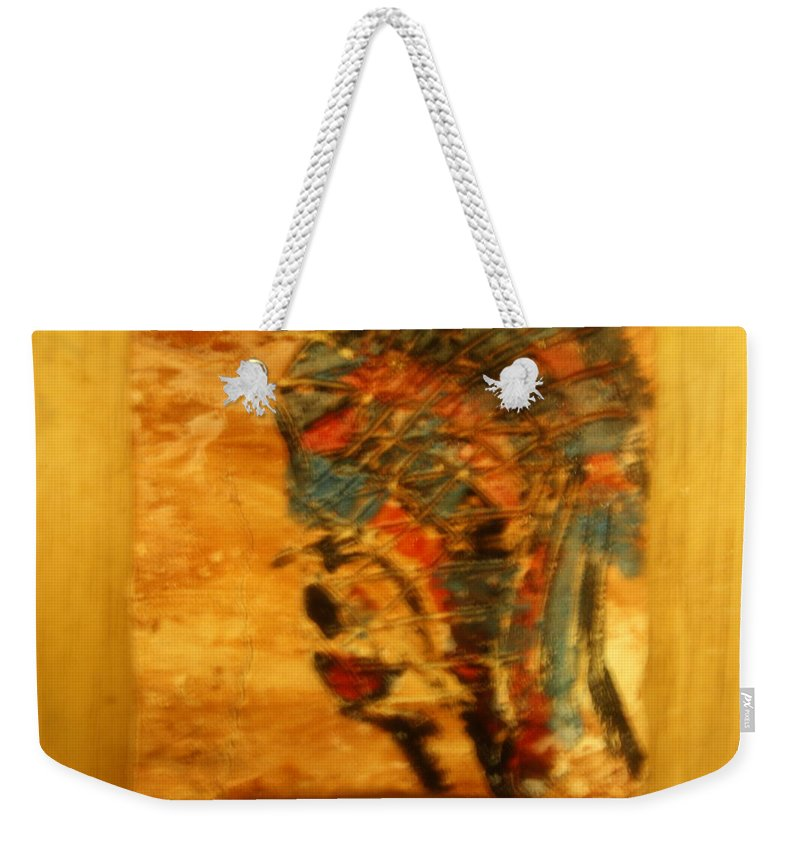 Jesus Weekender Tote Bag featuring the ceramic art Ends - Tile by Gloria Ssali