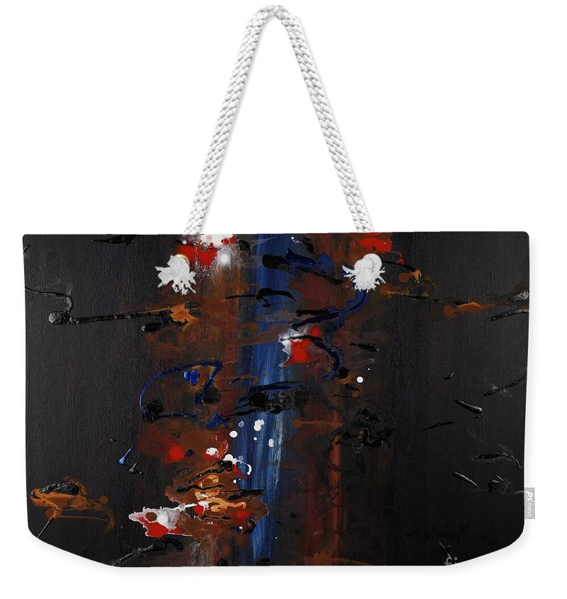 Black Weekender Tote Bag featuring the painting Energy by Nadine Rippelmeyer