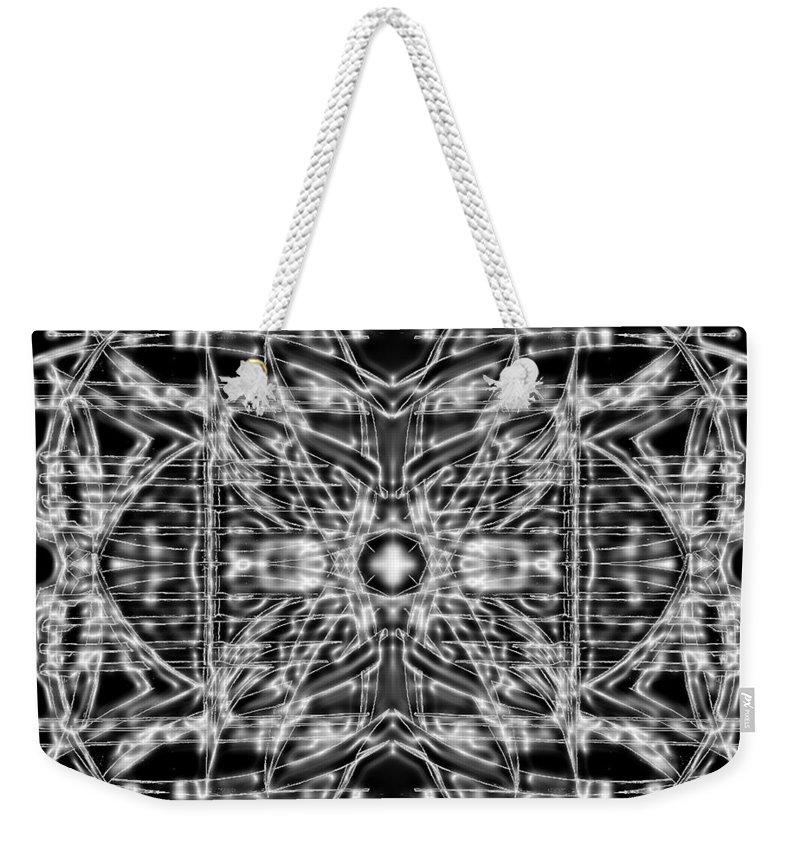 Doodle. Black And White Weekender Tote Bag featuring the digital art Energy Restrained by Don Quackenbush
