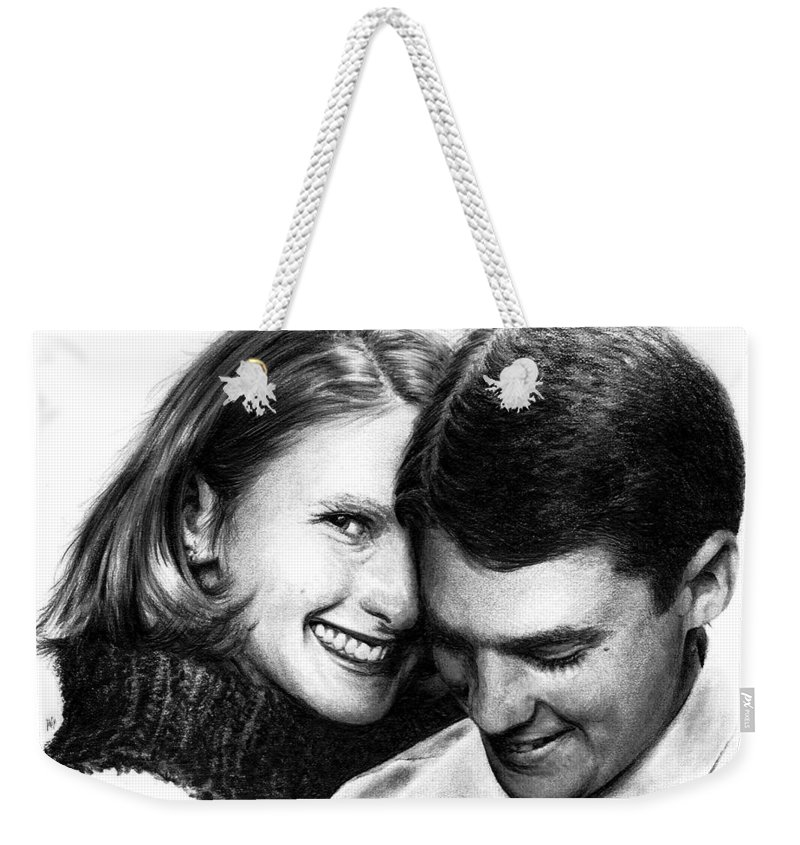 Portrait Weekender Tote Bag featuring the drawing Engaged by Rachel Christine Nowicki