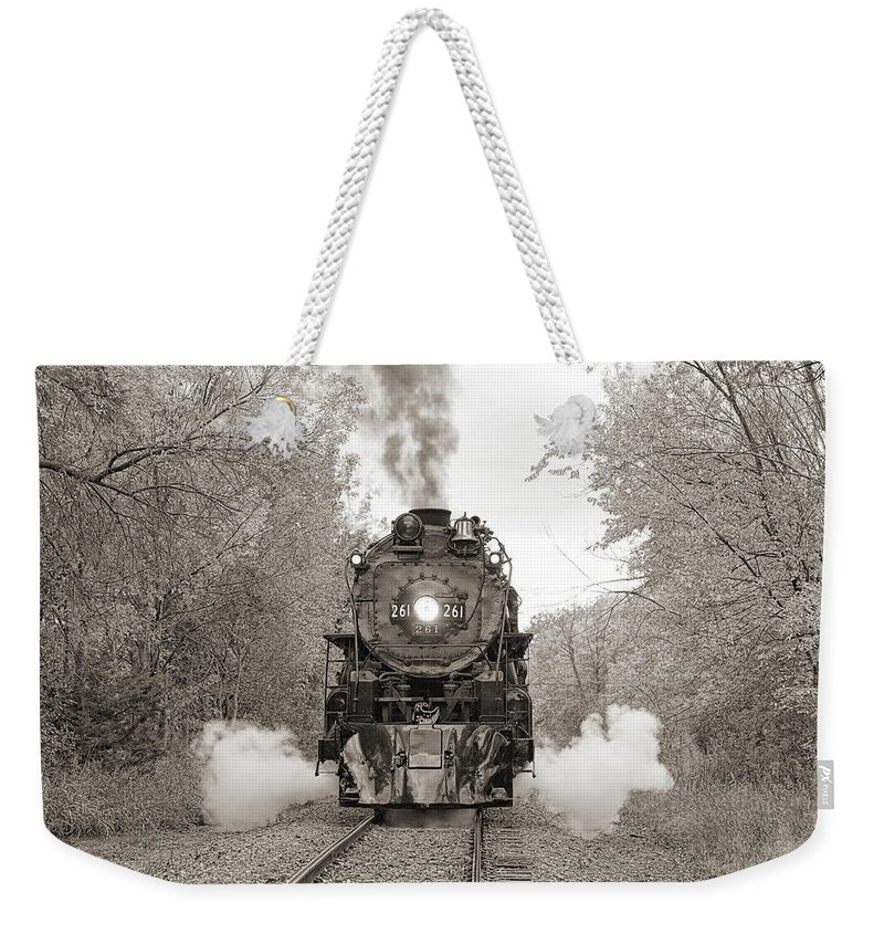 Steam Locomotive Weekender Tote Bag featuring the photograph Engine 261 by Steve Lucas