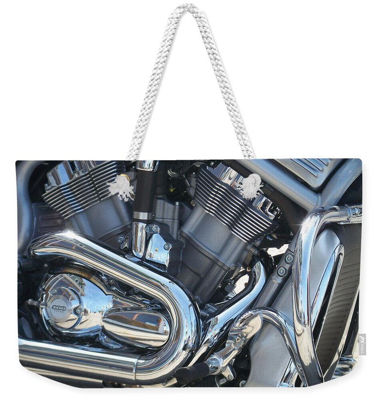 Motorcycle Weekender Tote Bag featuring the photograph Engine Close-up 1 by Anita Burgermeister