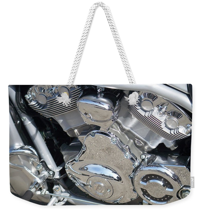 Motorcycle Weekender Tote Bag featuring the photograph Engine Close-up 2 by Anita Burgermeister