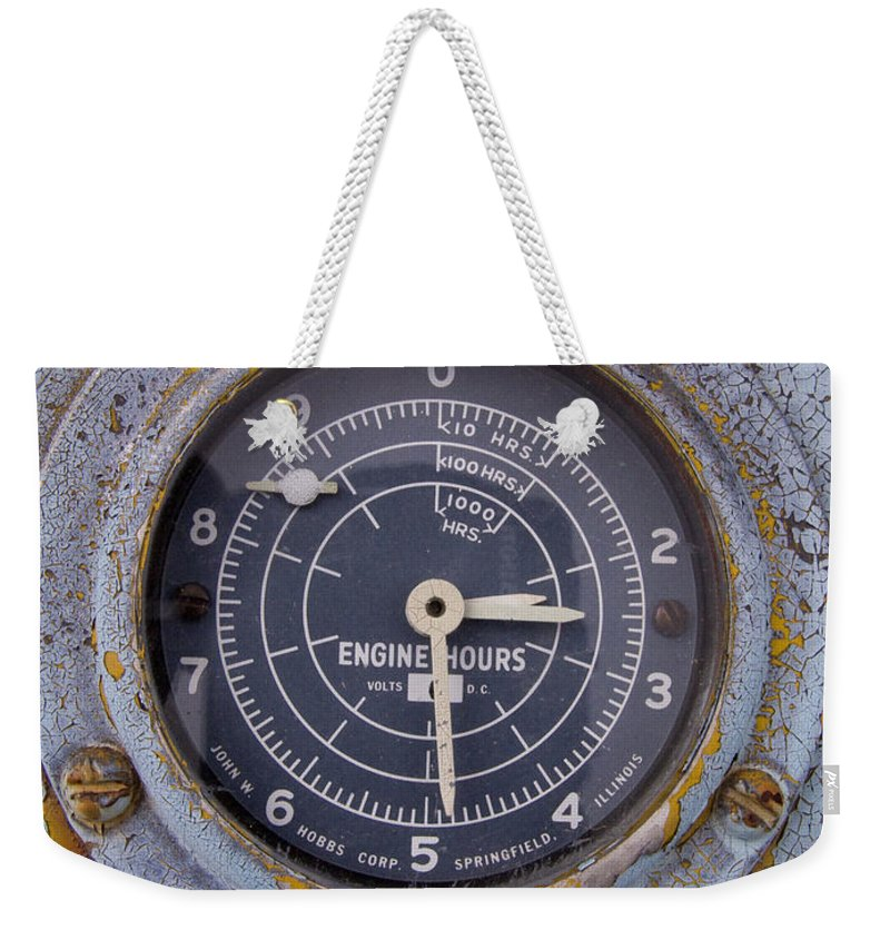 Gauge Weekender Tote Bag featuring the photograph Engine Hours by Jeffery Ball