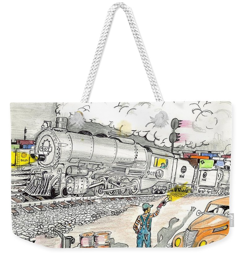 Roanoke Weekender Tote Bag featuring the drawing Engine On The Yard by David Ramey