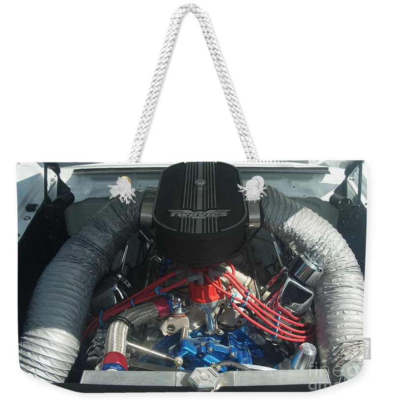 Engine Weekender Tote Bag featuring the photograph Engine Two Vics by Rob Luzier