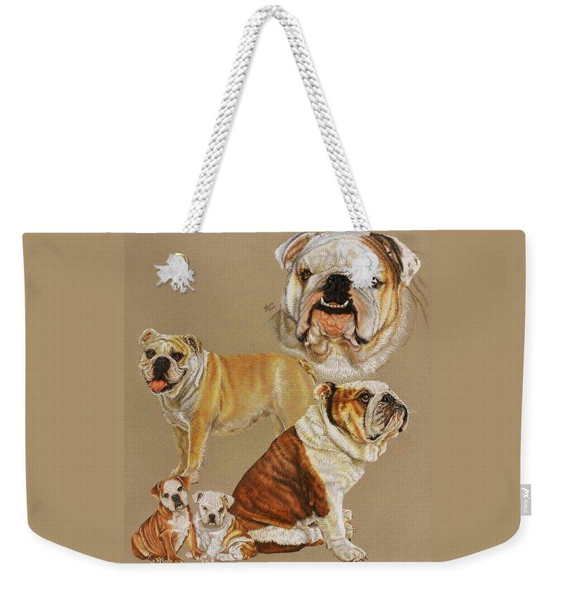 Purebred Weekender Tote Bag featuring the drawing English Bulldog by Barbara Keith