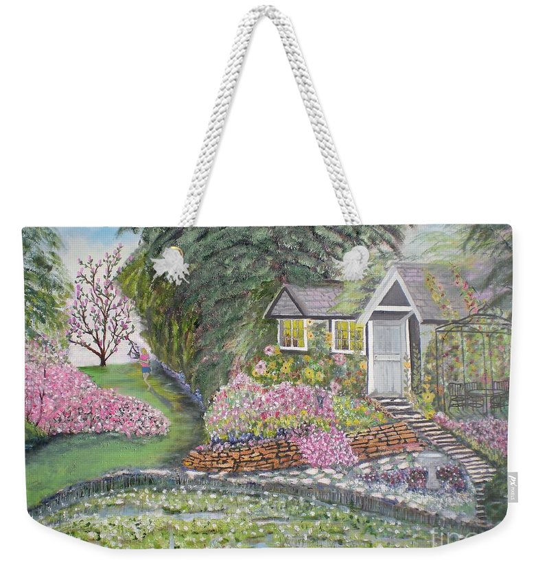 Cottage Weekender Tote Bag featuring the painting English Cottage by Hal Newhouser
