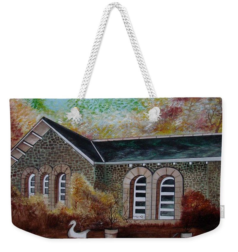 Autmn Weekender Tote Bag featuring the painting English Cottage In The Autumn by Glory Fraulein Wolfe