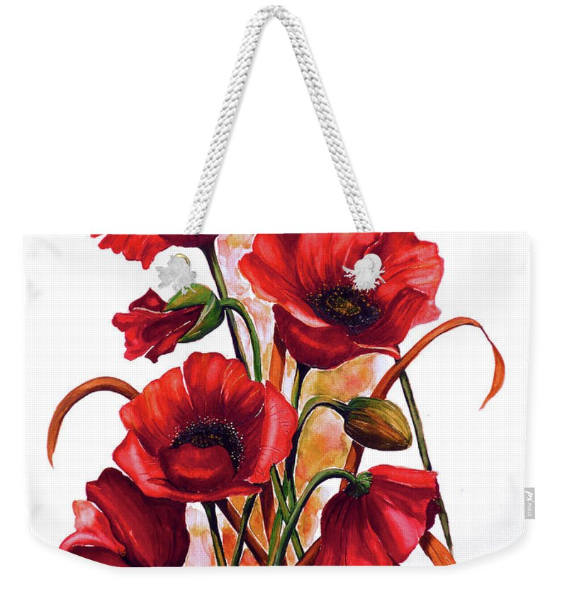 Red Poppies Paintings Floral Paintings Botanical Paintings Flower Paintings Poppy Paintings Field Poppy Painting Greeting Card Paintings Poster Print Painting Canvas Print Painting  Weekender Tote Bag featuring the painting English Poppies 2 by Karin Dawn Kelshall- Best