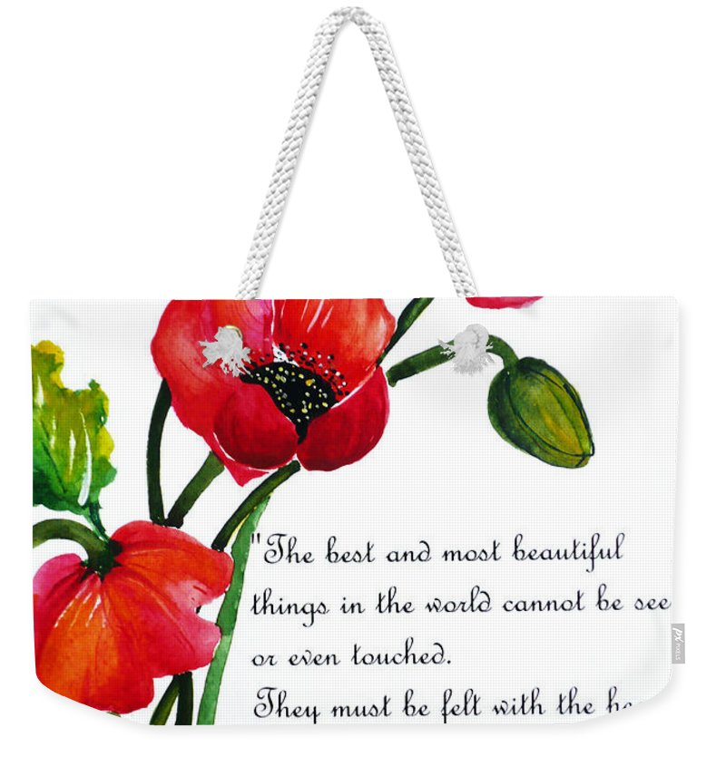 English poppy poem weekender tote bag for sale by karin dawn poppy painting weekender tote bag featuring the painting english poppy poem by karin dawn kelshall mightylinksfo